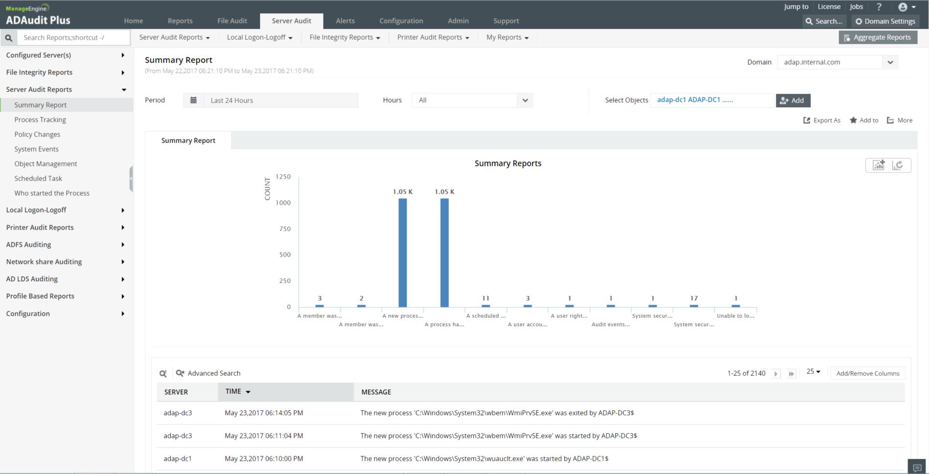 Exchange Reporter P system events change audit screenshot