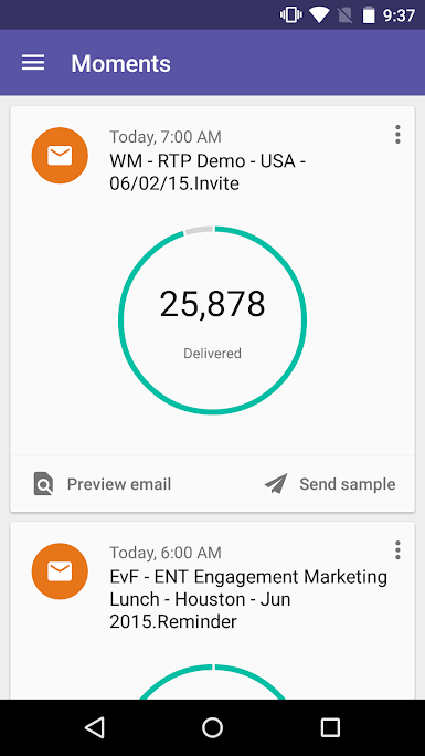 Marketo Moments app - email tracking