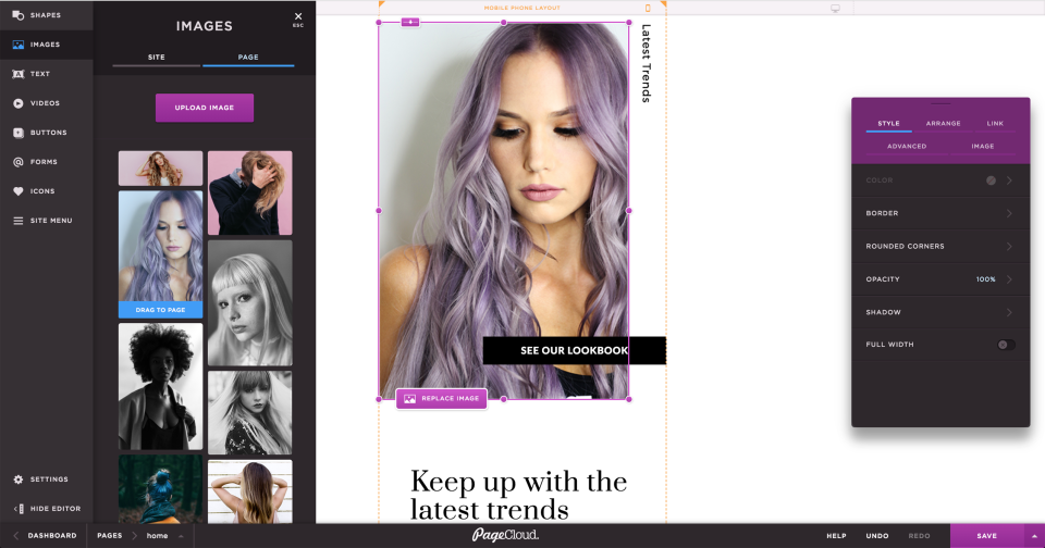 Images can be added to pages from desktop or online using the drag and drop interface