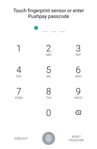 Pushpay set passcode screenshot