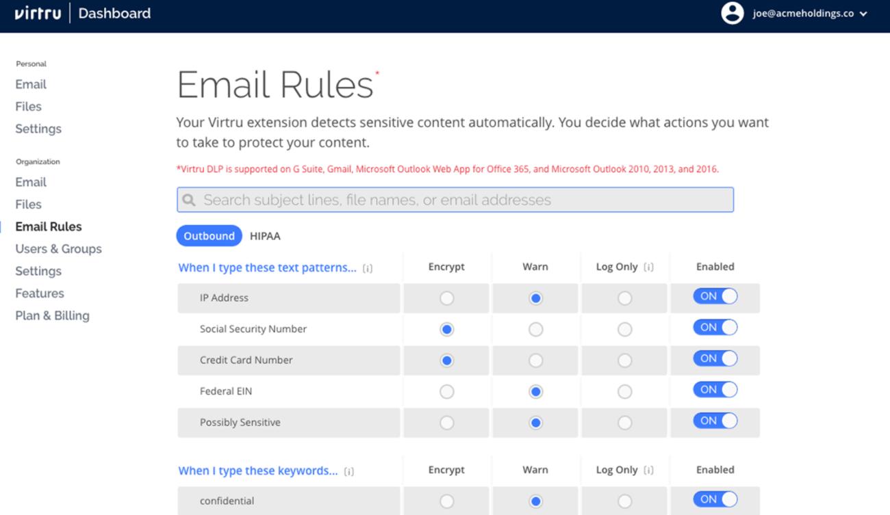 Virtru email rules