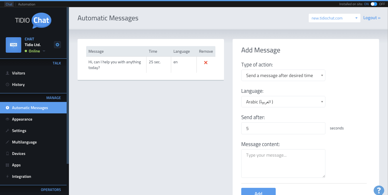 Tidio Chat automatic messages screenshot