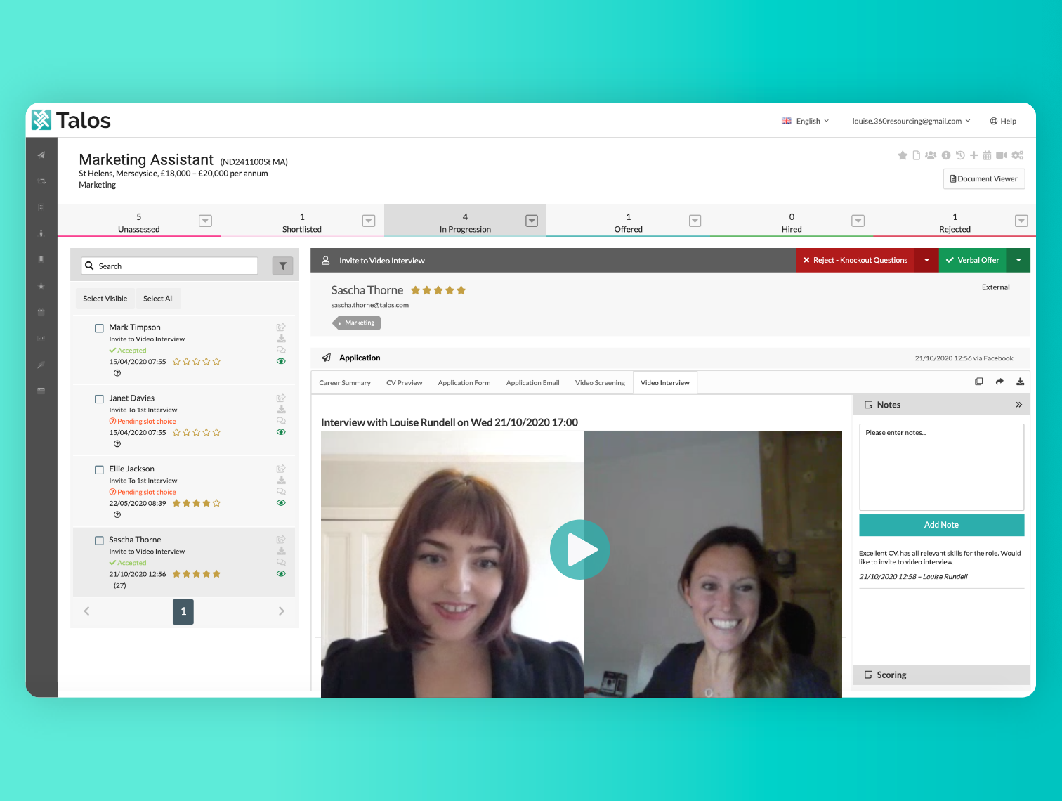 Video Interviewing & Video Screening Enabled
