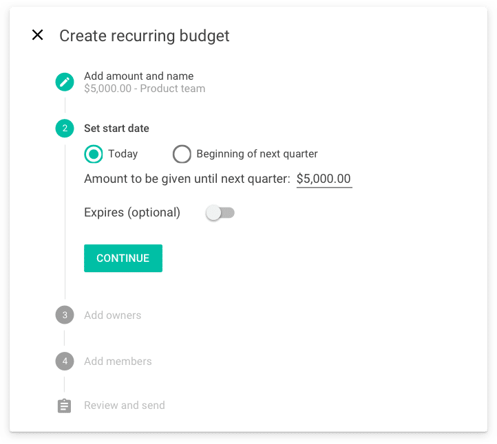 Create recurring budgets for vendors or teams and control the start and end dates