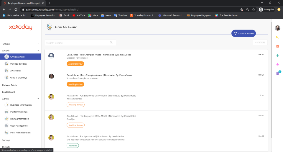 Configure values & behaviours with custom rule engines like inter-department, location, teams, reporting structures etc., with templates like Peer to Peer, Team, Spot, Jury, Value based, Milestones, Service, Monetary, Non-monetary rewards/awards.
