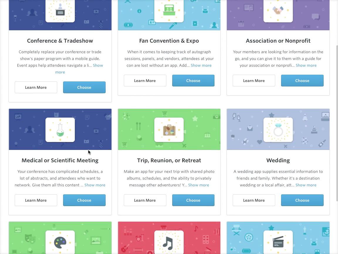 A choice of customizable app templates provide suggestions for content and layout
