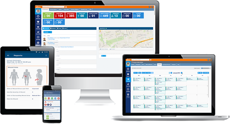 AlayaCare screenshot: A flexible and intuitive solution with configurable real-time KPIs