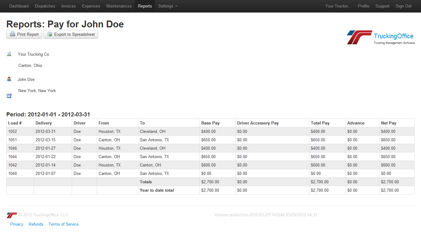 Generate driver's payroll reports