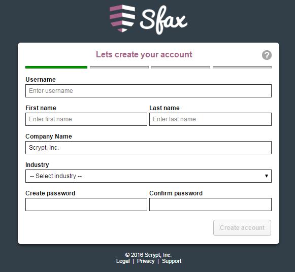Sfax Software - Sfax creating an account