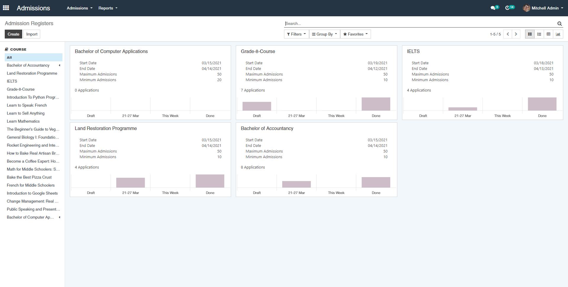 OpenEduCat Software - Admission Register