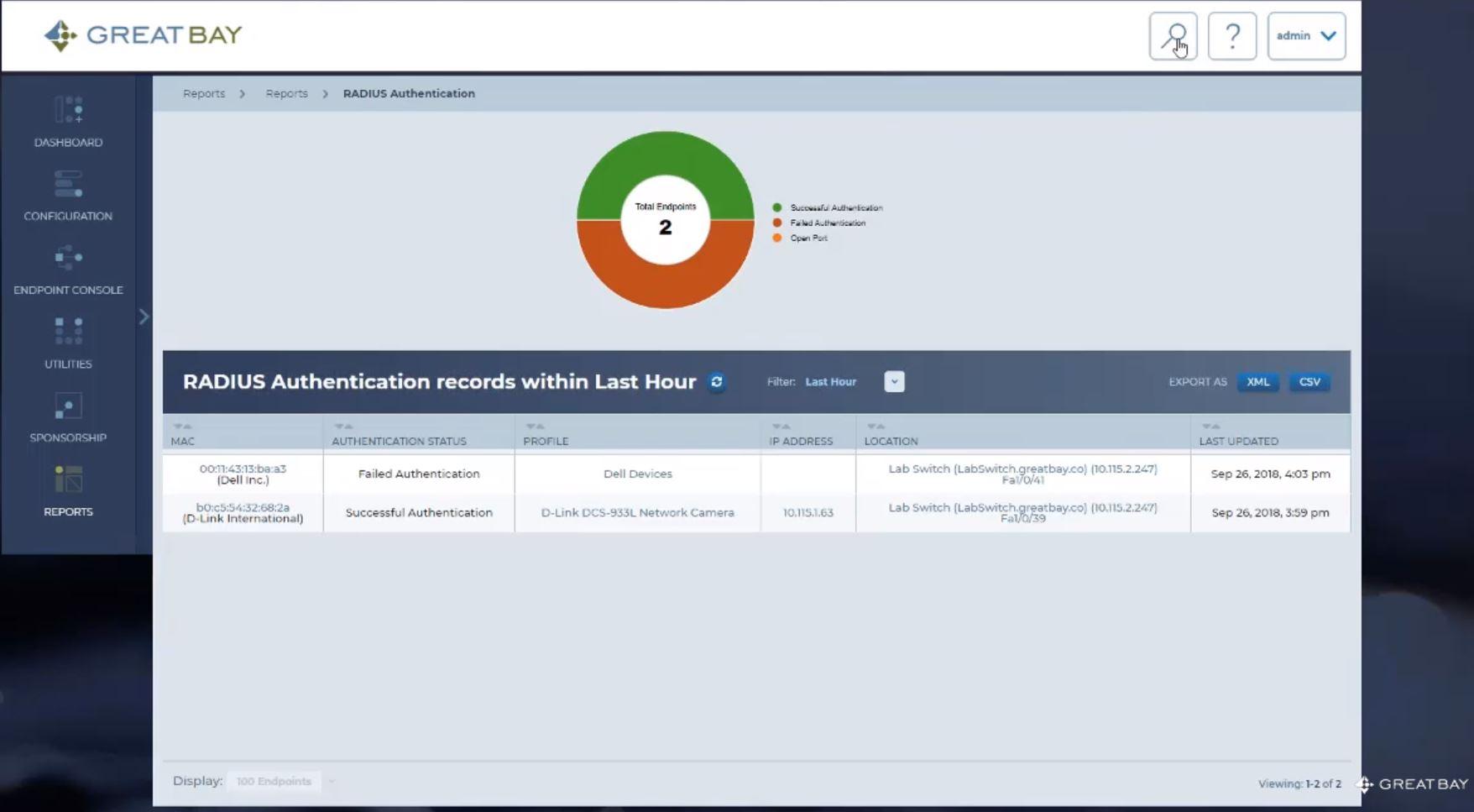 The Great Bay Network Intelligence Platform radius authentication