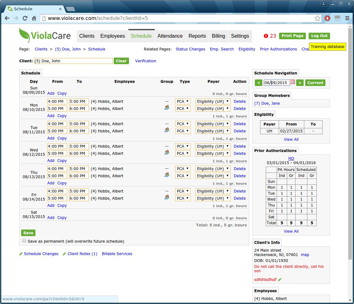 ViolaCare Software - Schedule