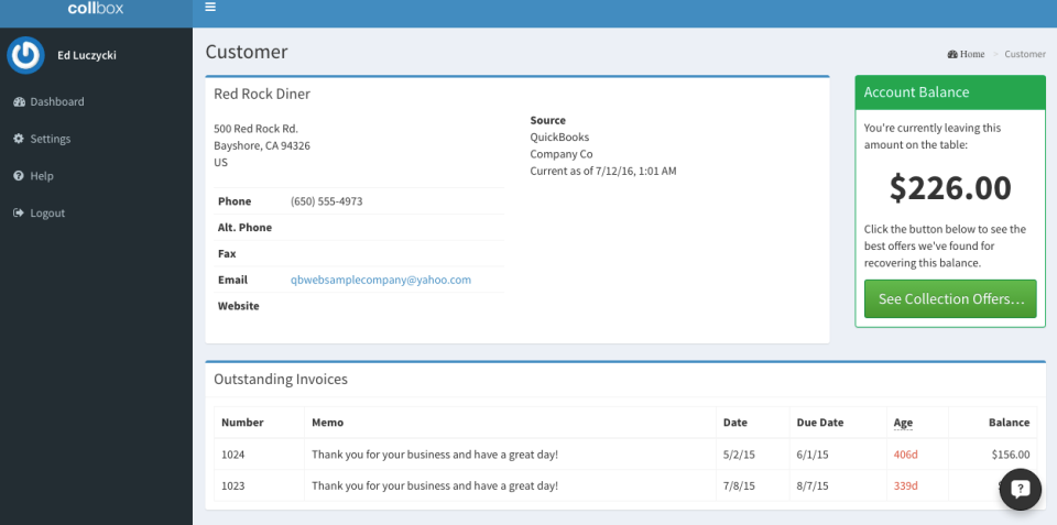 CollBox Software - CollBox outstanding invoices