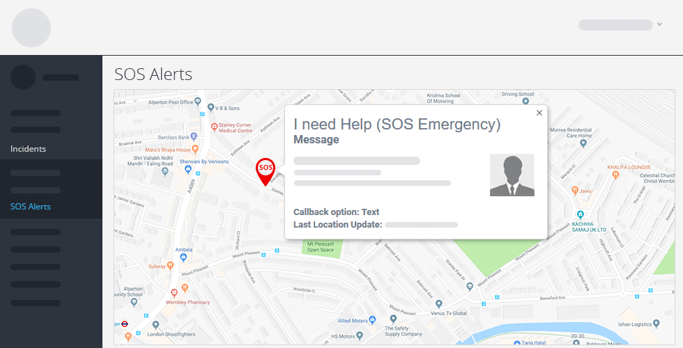 Crises Control SOS alerts map screenshot
