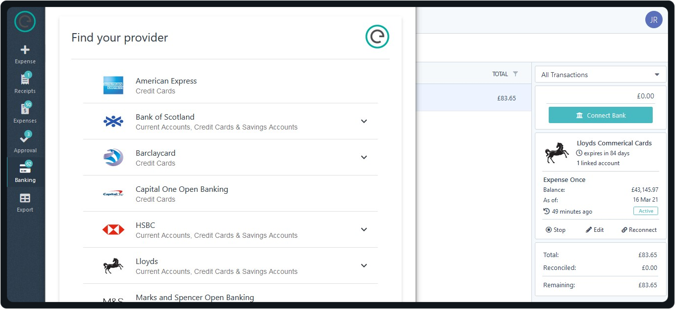 Securely setup automatic credit card transactions feed directly with your bank. Card transactions are created automatically and in real-time for claimants to reconcile. Transactions are categorized and receipt are attached automatically using OCR and AI.
