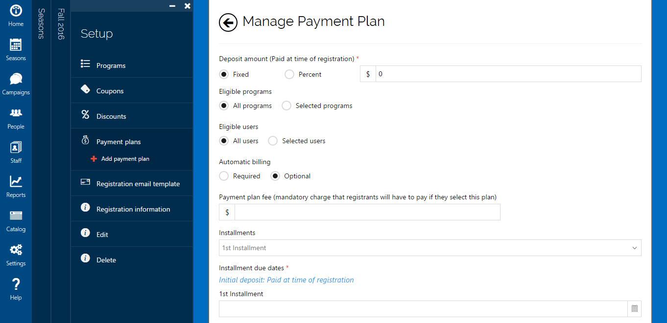 Jumbula manage payment plan screenshot