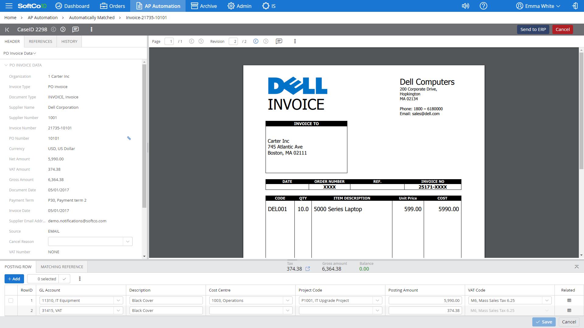 Invoice capture