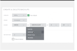 CloudRanger screenshot: Select creation schedule, set a retention period and apply by tag or instance ID for each backup policy