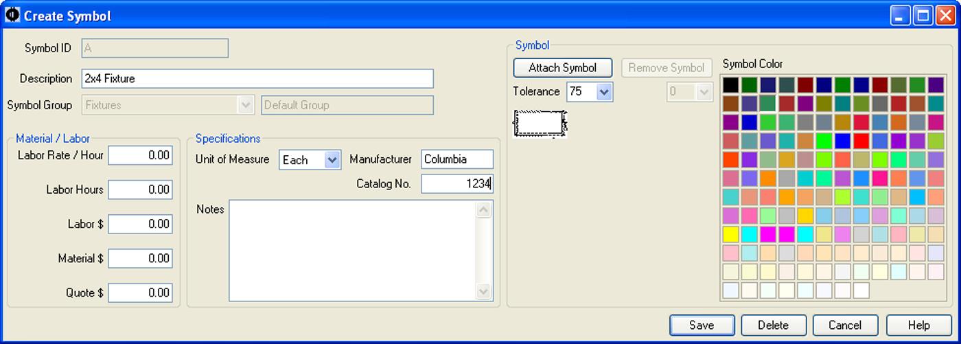 SureCount Software - Symbol Properties Menu
