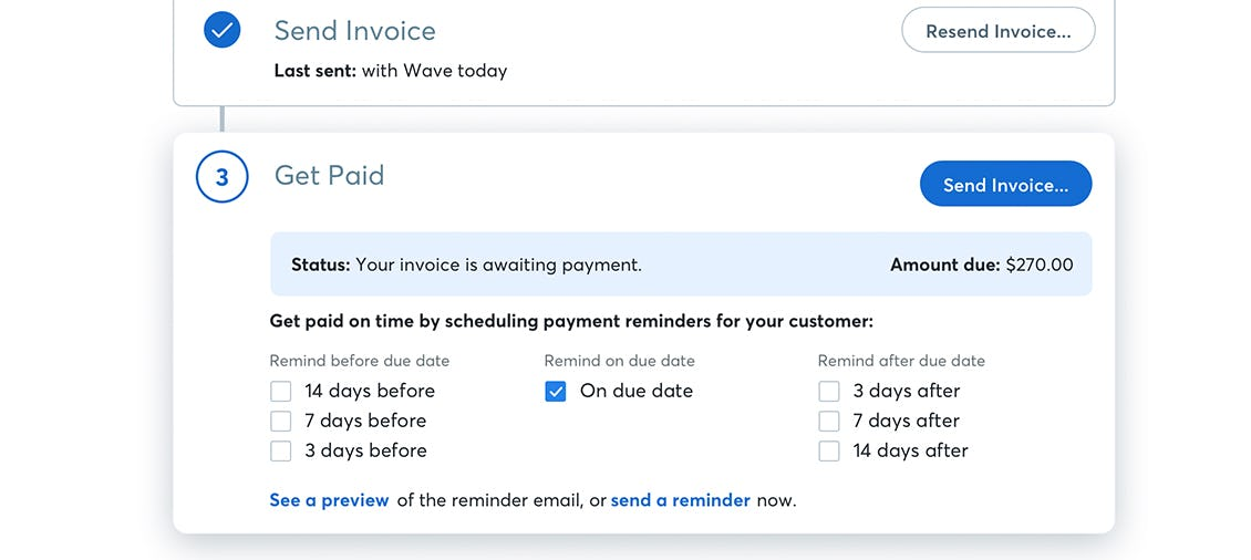 Wave invoice schedule