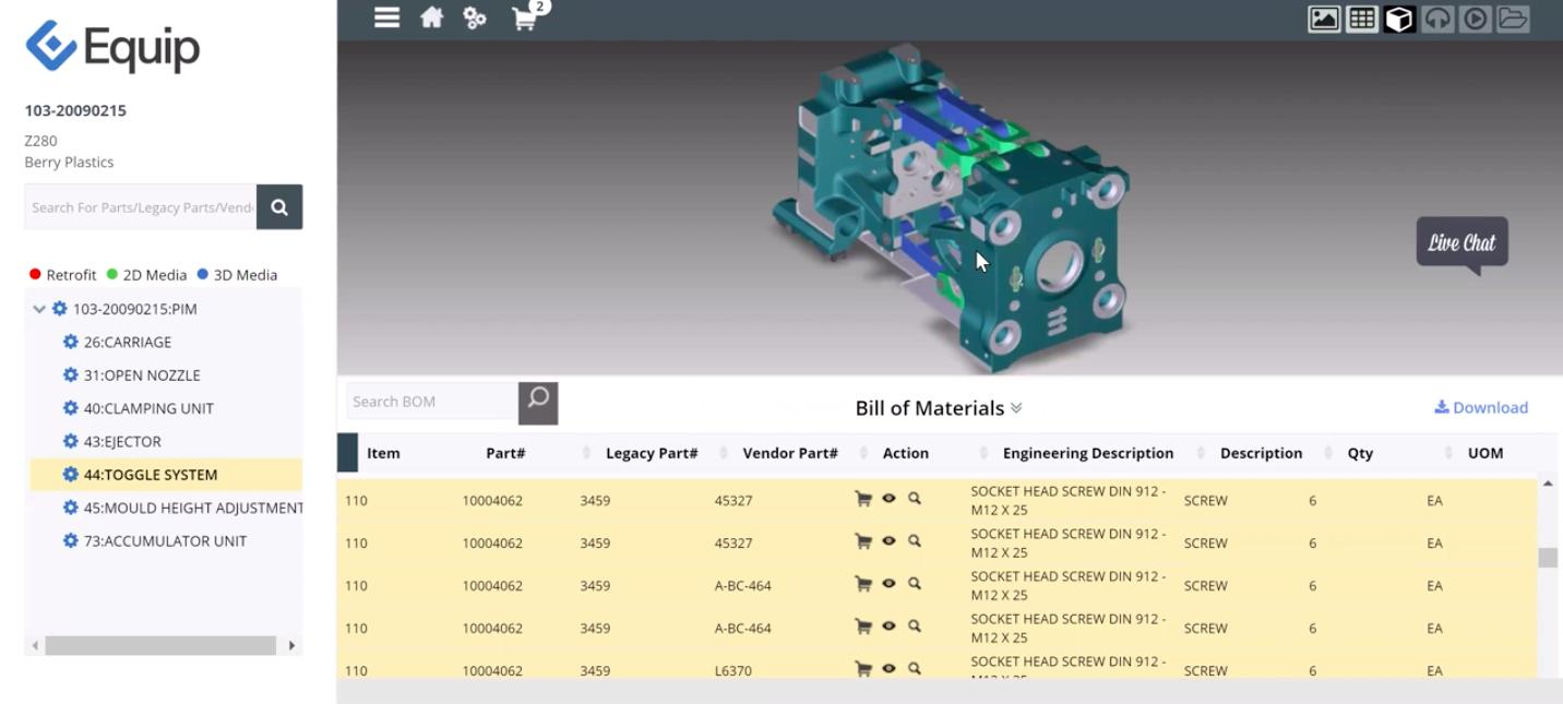 Interactive 3D Bill of Materials