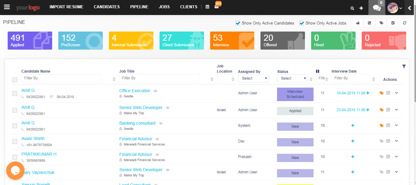 iSmartRecruit screenshot: Track your all active candidates at one place across all open jobs.