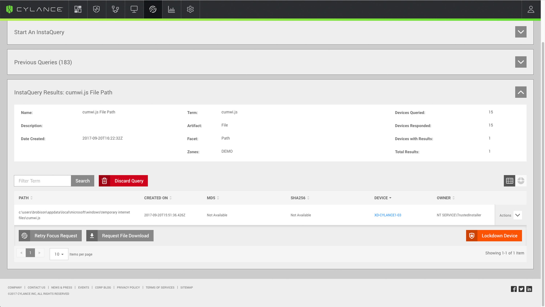 CylancePROTECT device monitoring screenshot