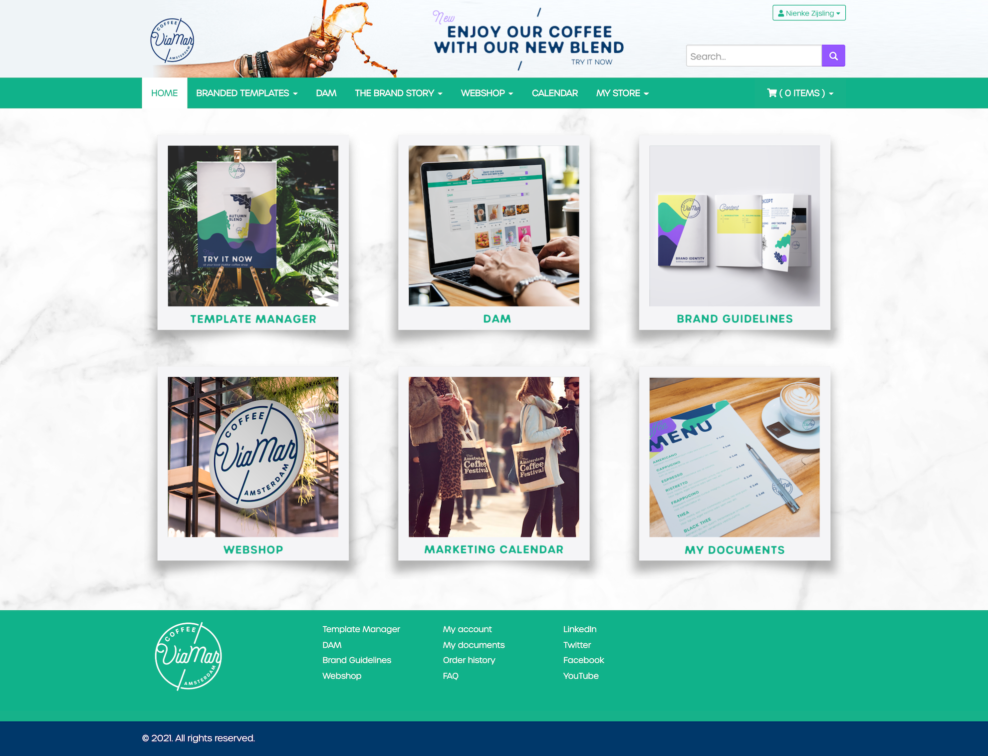 Marvia screenshot: On-brand Brand Portal customized to your preferences