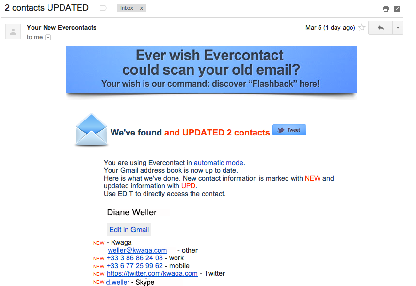 Evercontact notifies you about recently updated contacts