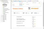 Macro Screenshot: Inclusion criteria with information such as subject number, initials, diseases, events and more