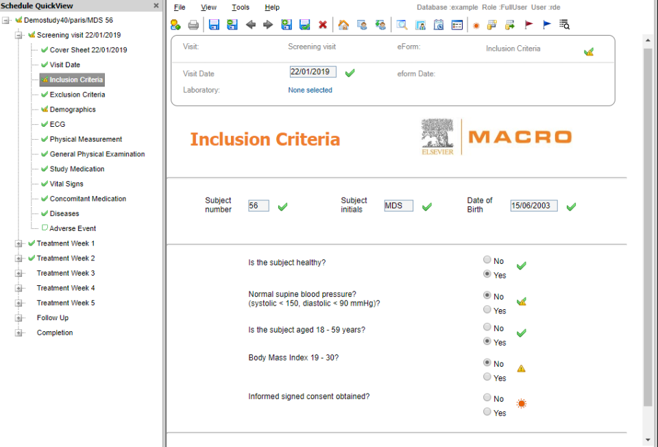 Inclusion criteria with information such as subject number, initials, diseases, events and more
