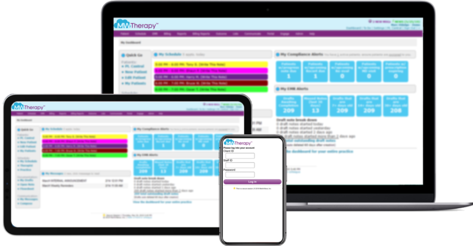 MWTherapy screenshot: MWTherapy activity dashboard and scheduling on any device