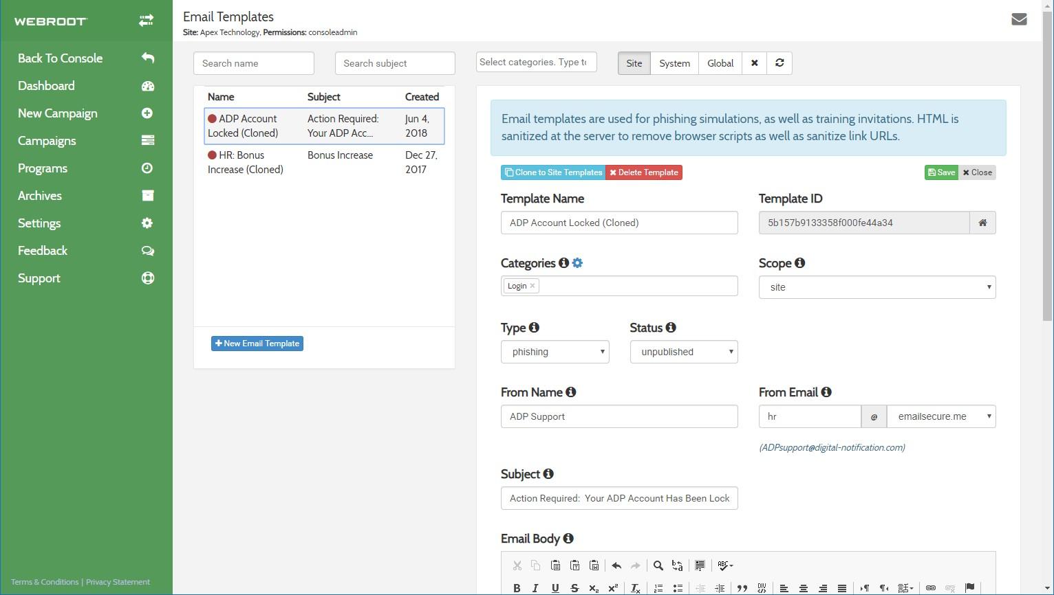 Webroot Security Awareness Training editing email template