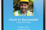 ExakTime screenshot: Employees can clock-in via the mobile app, using Photo ID Verification to confirm and approve identity