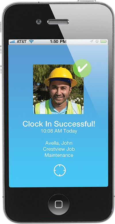 Employees can clock-in via the mobile app, using Photo ID Verification to confirm and approve identity