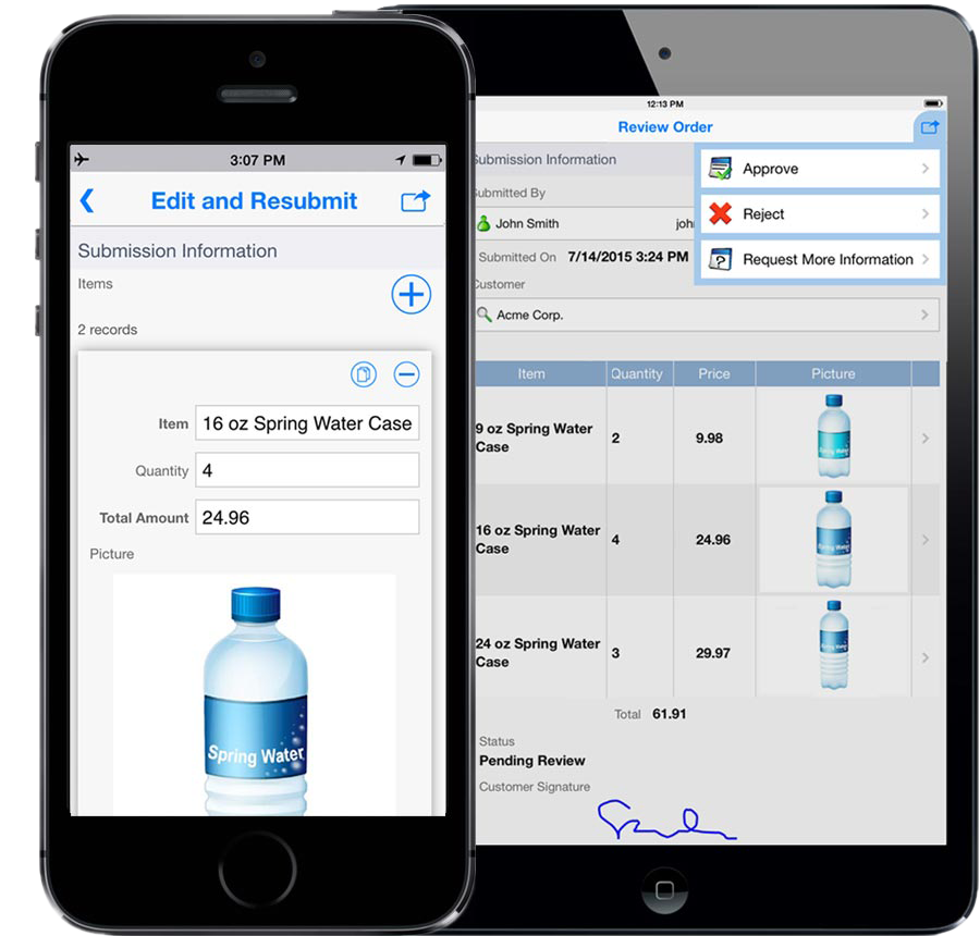 Access and edit past records and critical information via mobile devices