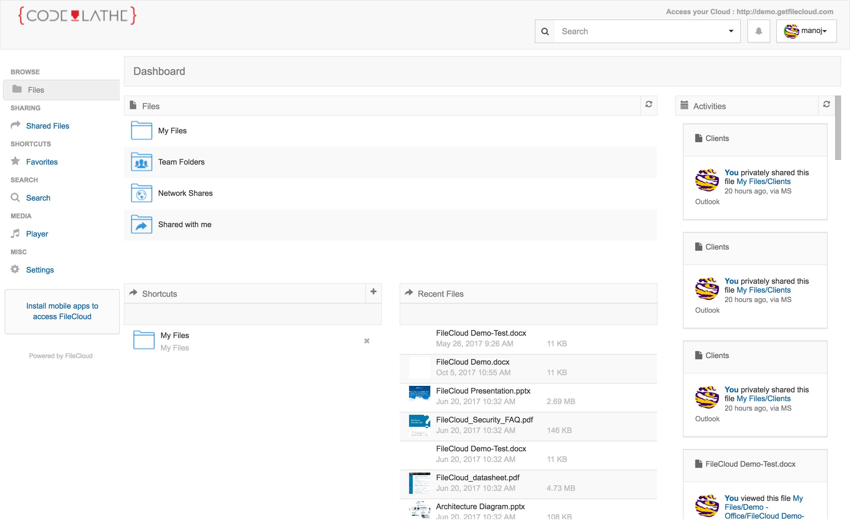 FileCloud user dashboard
