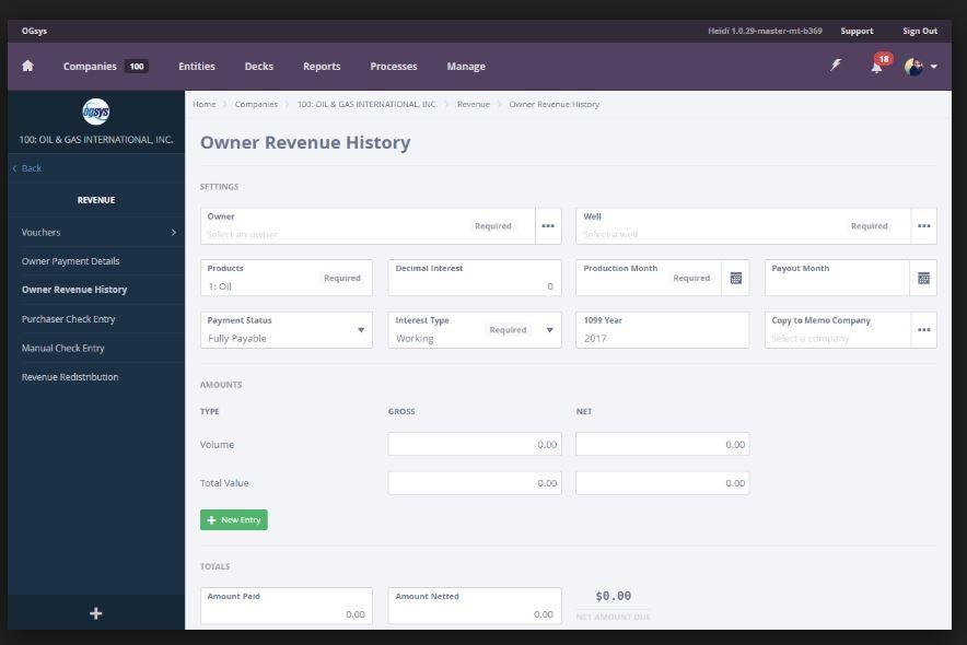 Owner revenue history