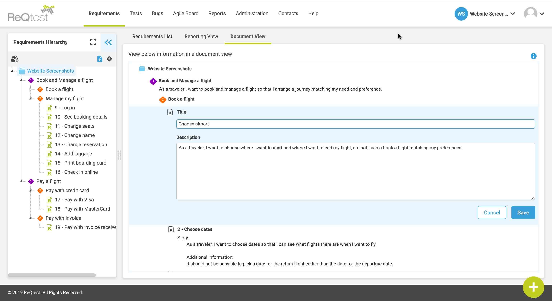ReQtest screenshot: ReQtest's requirements document view