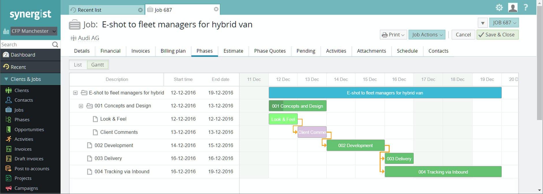 Synergist Software - Gantt chart