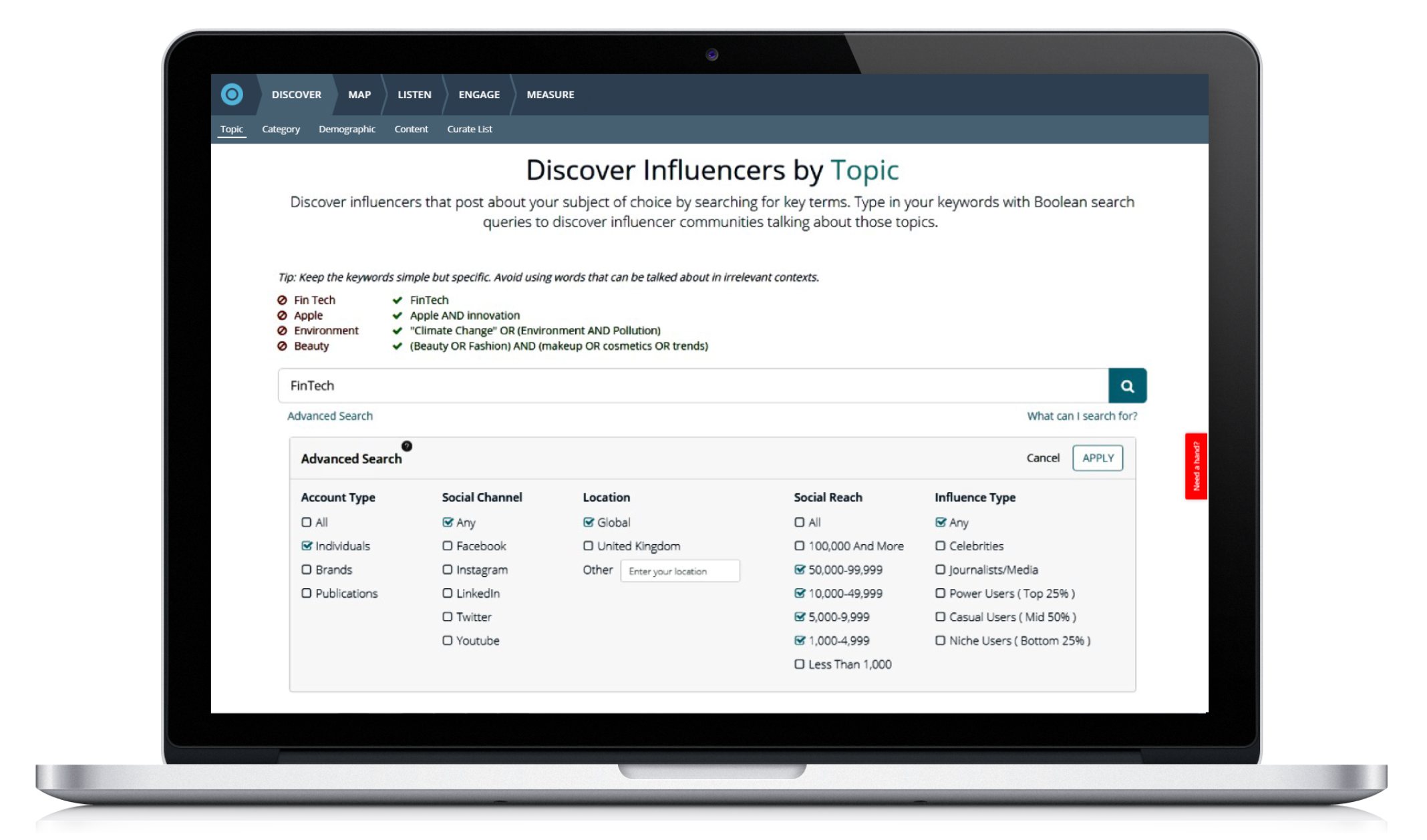 Discover influencers across various industries, topics and countries