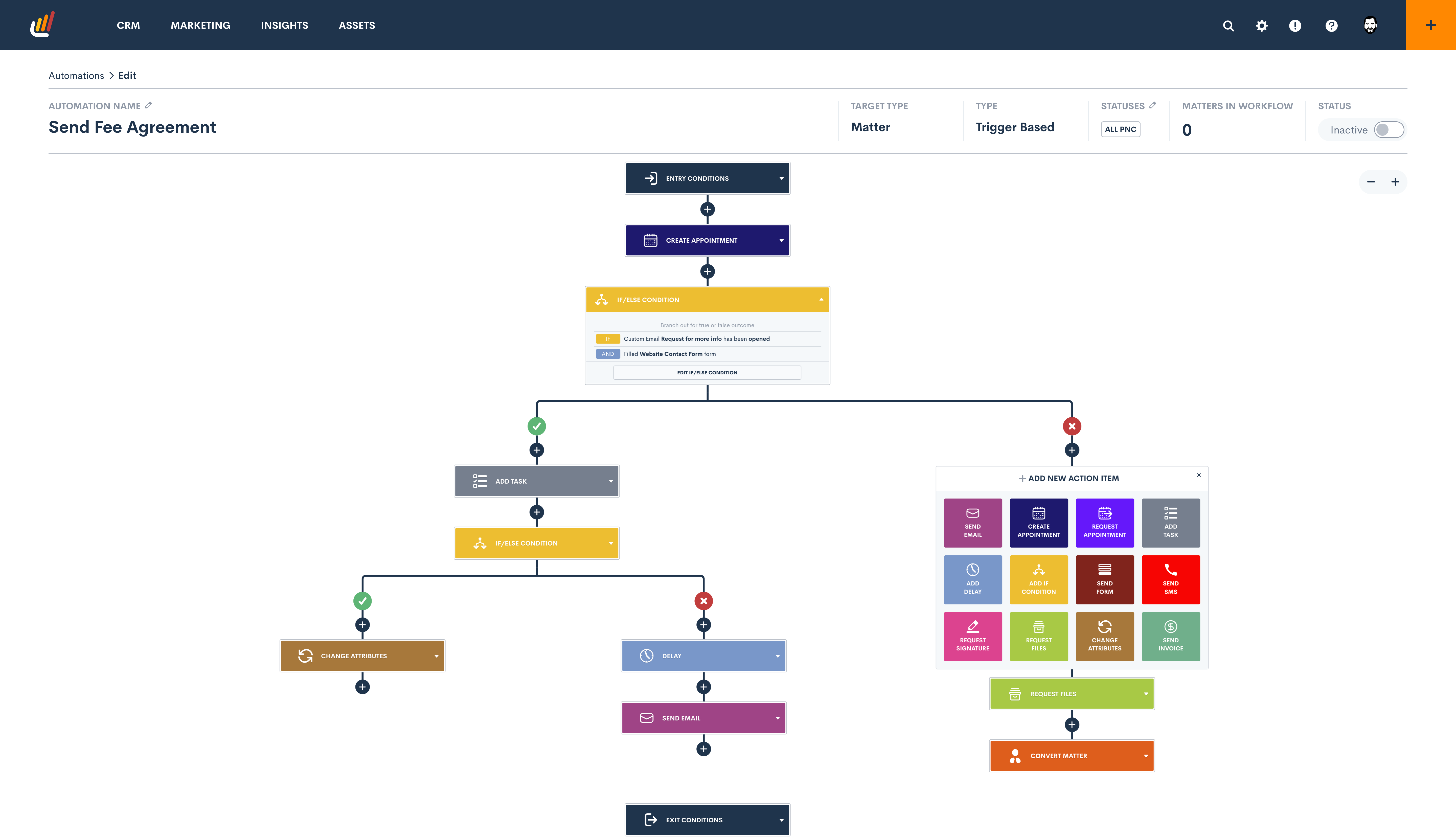 Lawmatics Software - The automation engine is an intuitive, visual interface that allows user to create customized workflows by simply connecting the system actions you want to automate (e.g. email, SMS, appointment request, send document). No code needed!