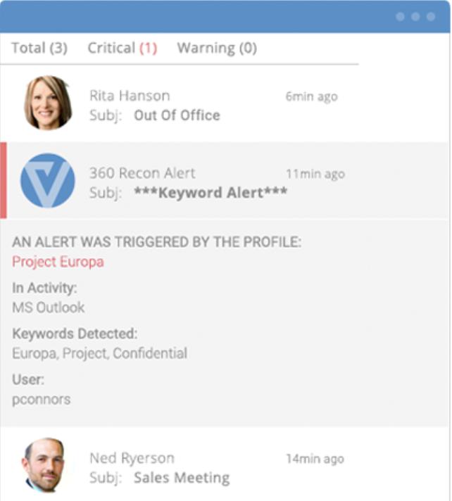Veriato Investigator alerts