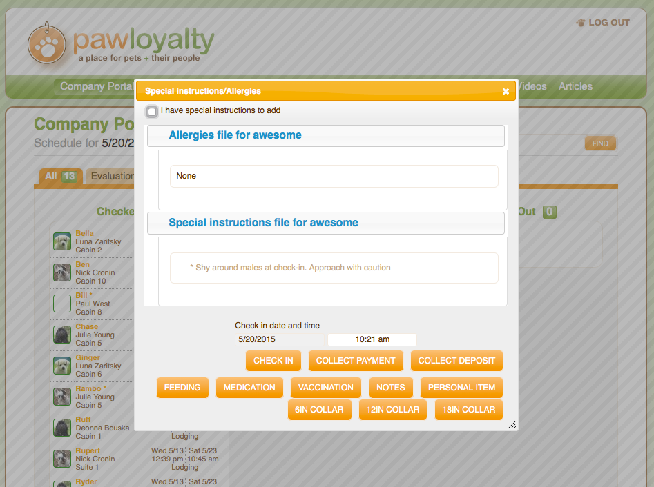PawLoyalty's special pet instructions