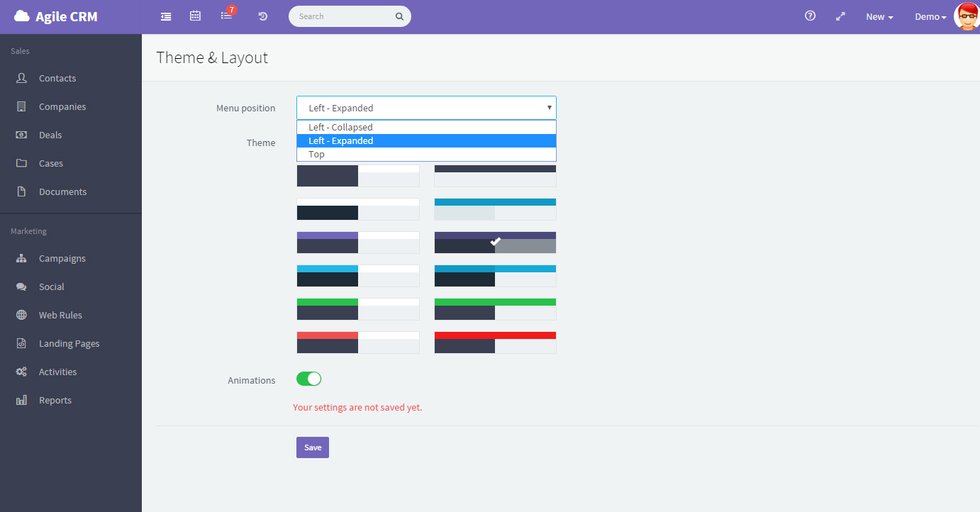 Agile CRM theme and layout