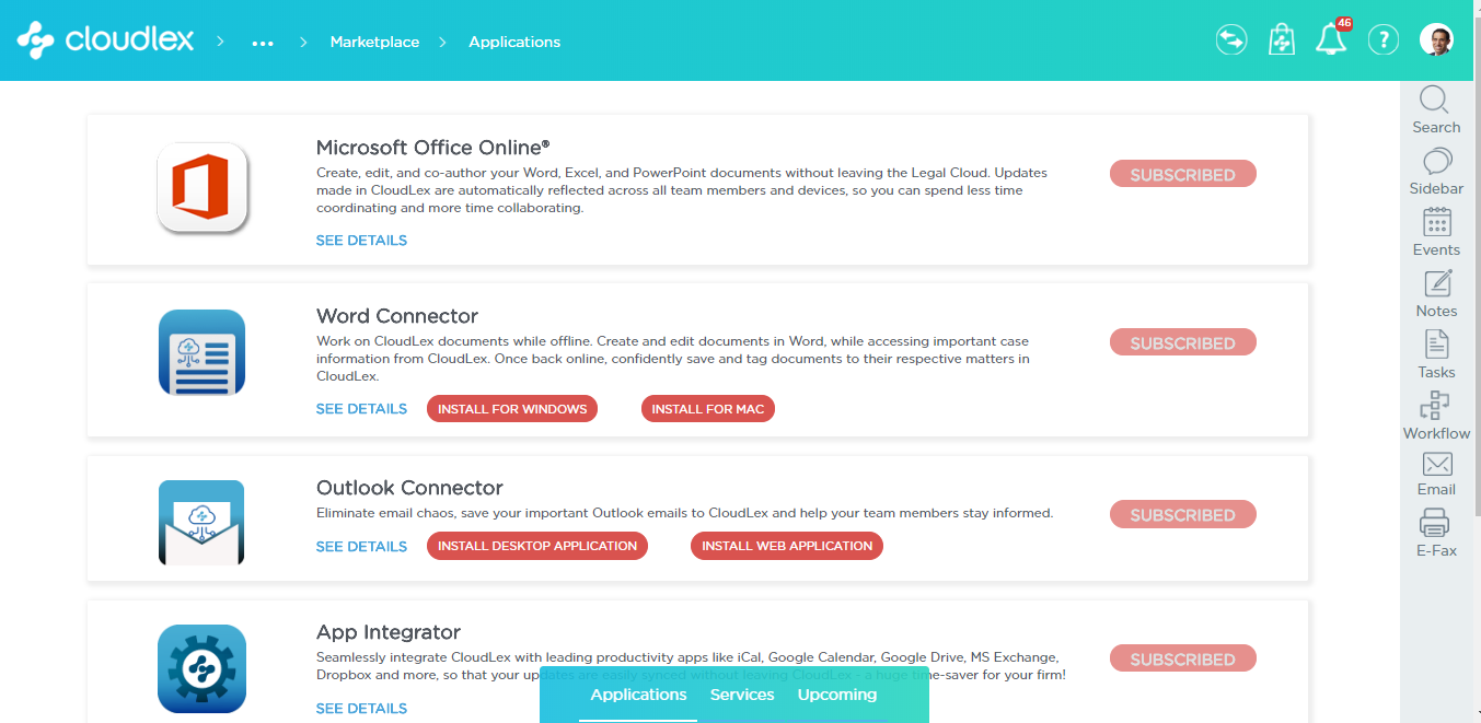 CloudLex Software - Applications