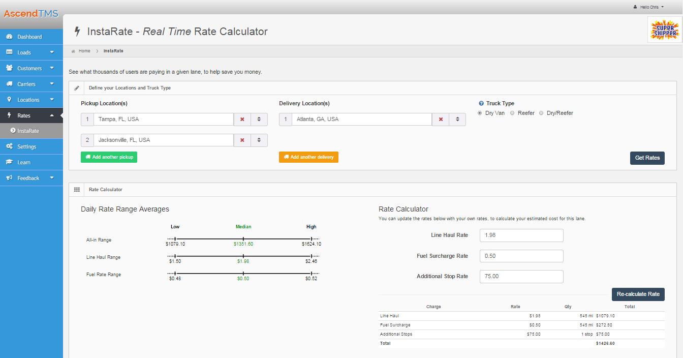 AscendTMS Logistics Software Software - Rate calculator