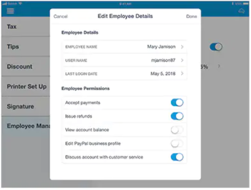 PayPal Here edit employee details