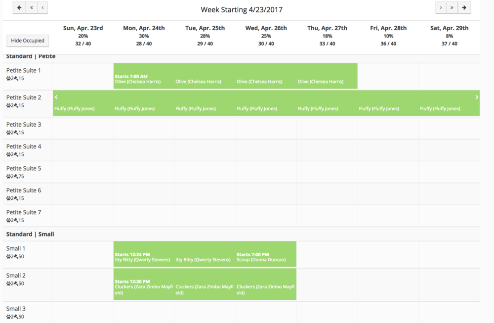 Use Gingr's lodging calendar tool to schedule reservations with the drag-and-drop function