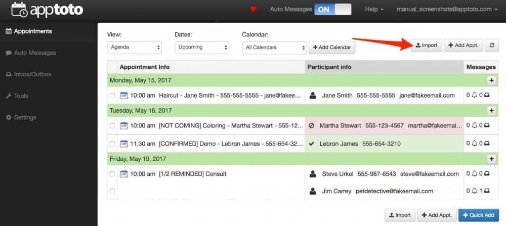 Apptoto data import screenshot